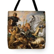 Wolf And Fox Hunt Tote Bag