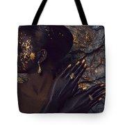 Woman In Splattered Golden Facial Paint Tote Bag