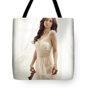 Woman In Vintage Negligee Tote Bag