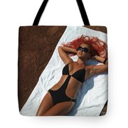 Woman Sunbathing Tote Bag