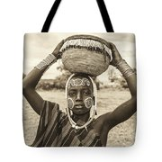Young Boy From The African Tribe Mursi, Ethiopia Tote Bag
