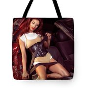 Young Woman In A Crashed Car Tote Bag