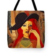 200 - Woman With Black Hat .... Tote Bag