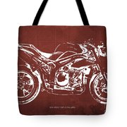 2011 Speed Triple Triumph Motorcycle Blueprint Red Background Artwork Christmas Gift For Men Tote Bag
