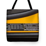 2012 Mc Laren V. I. N. Tag Tote Bag