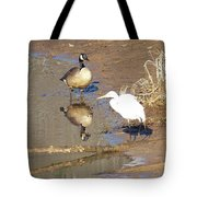 2012-white Crane And Canadian Goose Tote Bag