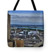 2015 View Of The Skyway And New Harbor  Tote Bag