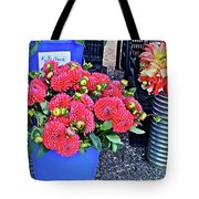 2016 Monona Farmer's Market Blue Bucket Of Dahlias Tote Bag
