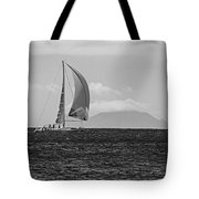 2017 Heineken Regatta Sailing Past Saba Saint Martin Sint Maarten Red Sail Black And White Tote Bag