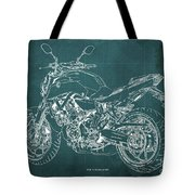 2018 Yamaha Mt07 Blueprint Green Background Fathers Day Gift Tote Bag