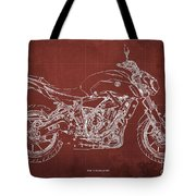 2018 Yamaha Mt07 Blueprint  Red Background Fathers Day Gift Tote Bag