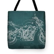 2018 Yamaha Mt07,blueprint,green Background,fathers Day Gift,2018 Tote Bag