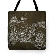 2018 Yamaha Tracer 900gt Blueprint Brown Background Two Wheels Move The Soul Tote Bag