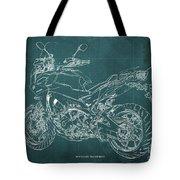 2018 Yamaha Tracer 900gt Blueprint Green Background Tote Bag