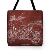 2018 Yamaha Tracer 900gt Blueprint Red Background Gift For Dad Tote Bag