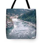 Kootenai River Water Falls In Montana Mountains Tote Bag