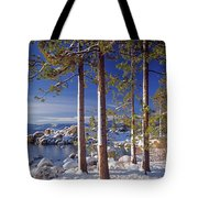 211257 Snow On Tree Sides Lake Tahoe Tote Bag