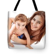 Happy Mother With Baby Tote Bag