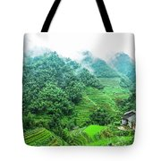 Mountain Scenery In The Mist Tote Bag