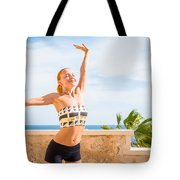 Beautiful Woman Practicing Yoga Tote Bag