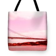 25 De Abril Bridge In Crimson Tote Bag