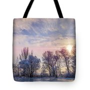 Frozen Water, Snow And Ice On The Dnieper River Tote Bag