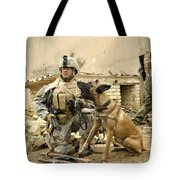 A Dog Handler And His Military Working Tote Bag