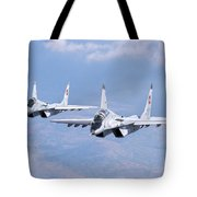 A Pair Of Bulgarian Air Force Mig-29s Tote Bag