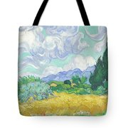 A Wheatfield With Cypresses Tote Bag