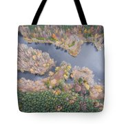 Aerial View Of The Forrest With Different Color Trees.  Tote Bag