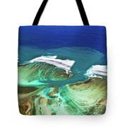 Aerial View Of The Underwater Channel. Mauritius Tote Bag