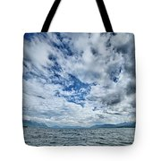Alaska Waterscape And Mountains Near Favorite Channel And  Junea Tote Bag