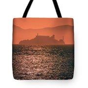 Alcatraz Island Prison San Francisco Bay At Sunset Tote Bag