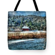 Vermont Farm By The River Tote Bag