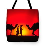 Camels At Sunset Tote Bag