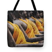 Carved Stone Buddha Statue Wat Temple Complex In Old Siam Kingdom Ayutthaya Thailand Tote Bag
