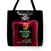 Chanel Perfume With Red Roses Tote Bag