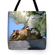 Chipmunk Chillin' On The Railin' Tote Bag