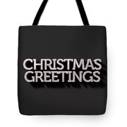Christmas Greetings Text On Black Tote Bag