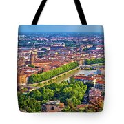 City Of Verona Old Center And Adige River Aerial Panoramic View Tote Bag