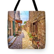 Colorful Mediterranean Stone Street Of Prvic Island Tote Bag