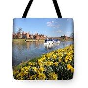 Daffodils Beside The Thames At Hampton Court London Uk Tote Bag
