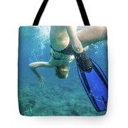 Female Snorkeling Tote Bag