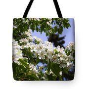 Flowering Pear Branch In The Garden Tote Bag