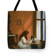 Girl At Sewing Machine Tote Bag