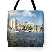 Honolulu Skyline Panorama Tote Bag