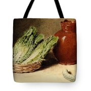 Hunt William Henry Still Life With A Jug A Cabbage In A Basket And A Gherkin William Henry Hunt Tote Bag