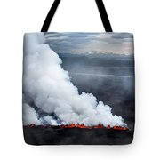 Lava And Plumes From The Holuhraun Tote Bag