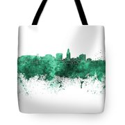 Lincoln Skyline In Watercolor Background Tote Bag