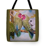 Flygende Lammet   Productions             3 Love Birds Perched Tote Bag
